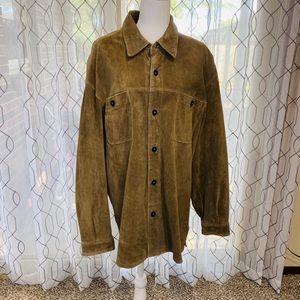 Claiborne Men's Tan Leather Suede Shirt Jacket XL